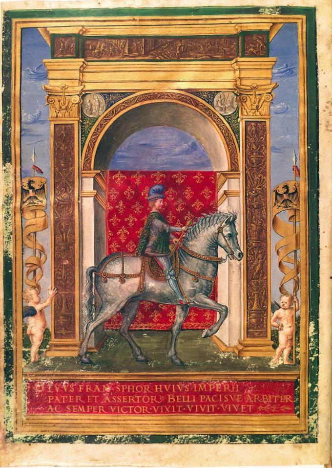 Fig. 11: Illuminated scene of the triumphant Francesco Sforza, circle of Giovan Pietro Birago, ca. 1493-94 (Biblioteca Riccardiana, Florence)