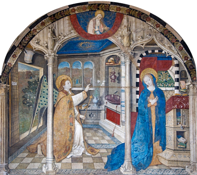Fig. 09: Detail of Annunciation painting by Jos Amman, 1451, Santa Maria di Castello in Genoa