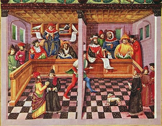 Fig. 10: Cristoforo de Predis, Tribunal of the Scientists, illumination from De Sphaera, ca. 1470 (Biblioteca Estense, Modena)