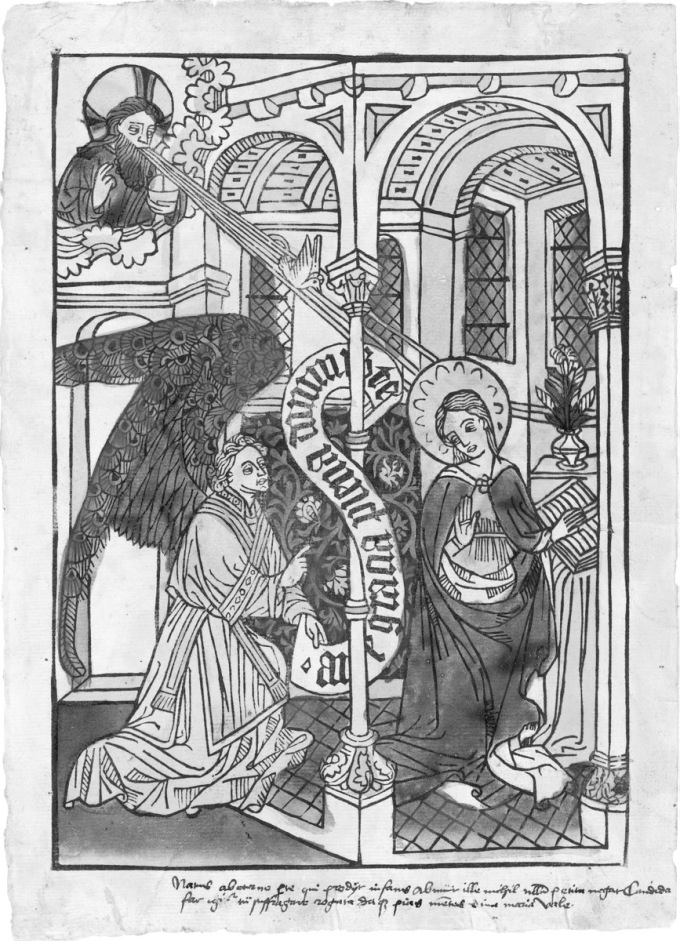 Fig. 07: German Annunciation woodcut, ca. 1450-70 (National Gallery of Art, Inv No 1943-3-452)