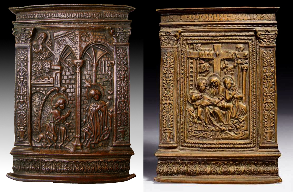 Fig. 01 (left): Annunciation pax (Buttazzoni collection); Lombard (probably Milan), ca. 1500 (frame and cast, relief prototype possibly earlier); Fig. 02 (right): Lamentation pax (Private collection; Koller auktion, 30 March 2009, Lot 337); Lombard (probably Milan), ca. 1500