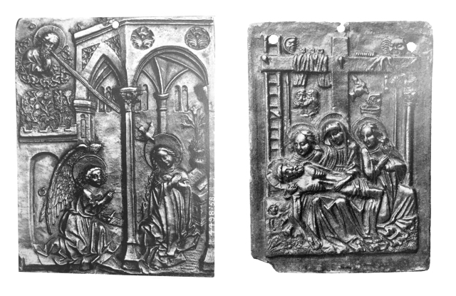 Fig. 03 (right): Lamentation plaquette (Berlin State Museums), Lombard (probably Milan), ca. 1500; Fig. 04 (left): Annunciation plaquette (Victoria & Albert Museum), Lombard (probably Milan), ca. 1475-1500