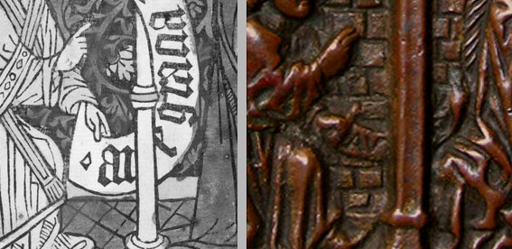 Fig. 08: Detailed views of Annunciation woodcut (Fig. 07) and pax (Fig. 01)