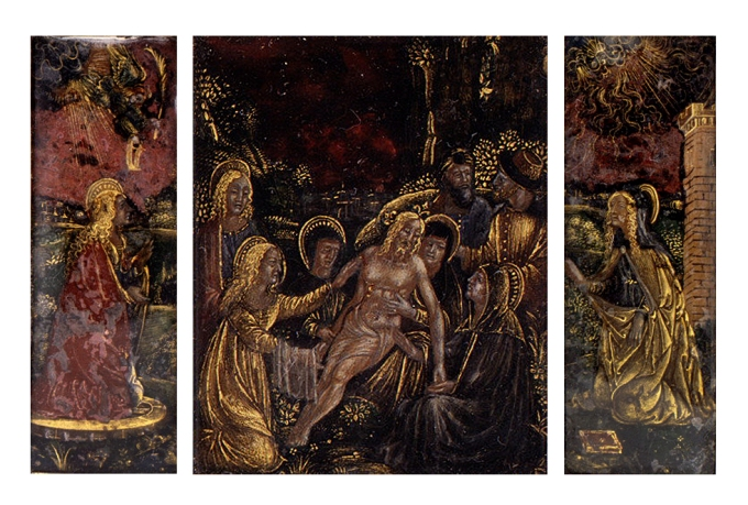 Fig. 07: Reverse painted and gilt rock crystal triptych of the Annunciation, Lamentation and Mary Magdalene (MET)