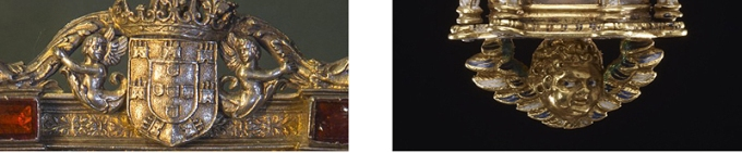Fig. 11: Detail of a cartouche, flanked by sirens atop a silver pax at the Madeira Museum of Sacred Art, Spain / Fig. 12: Detail of an enameled gold winged putto fixed beneath a Spanish reliquary pendant, ca. 1550-1600 (British Museum; Inv. WB.183, © Trustees of the British Museum)