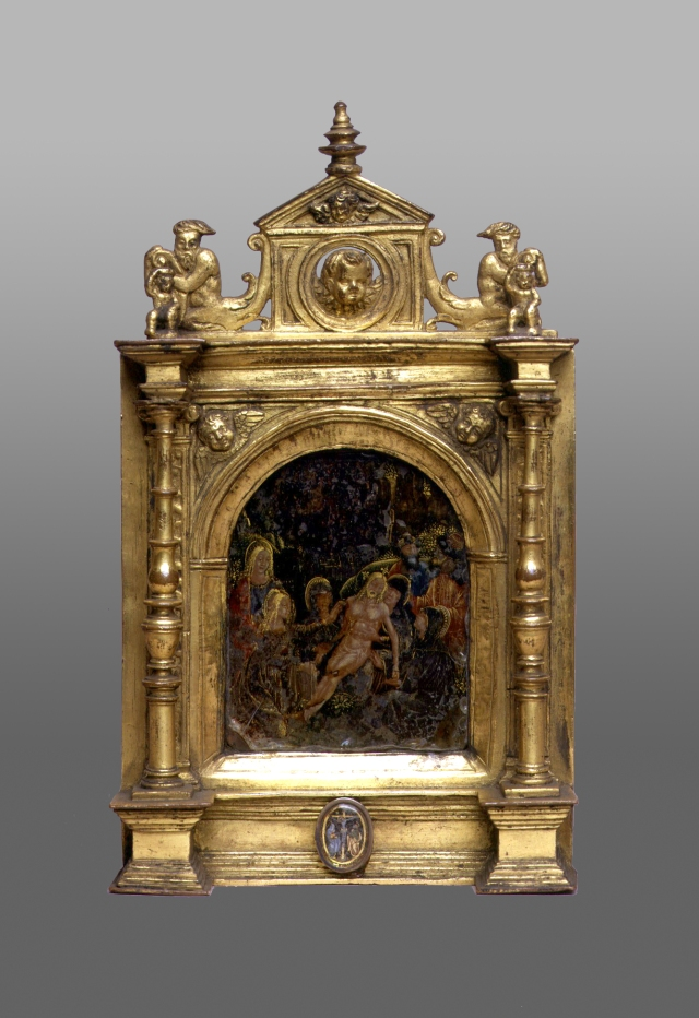 Fig. 01: Gilt pax with reverse painted rock crystals (Palazzo Madama, Turin)