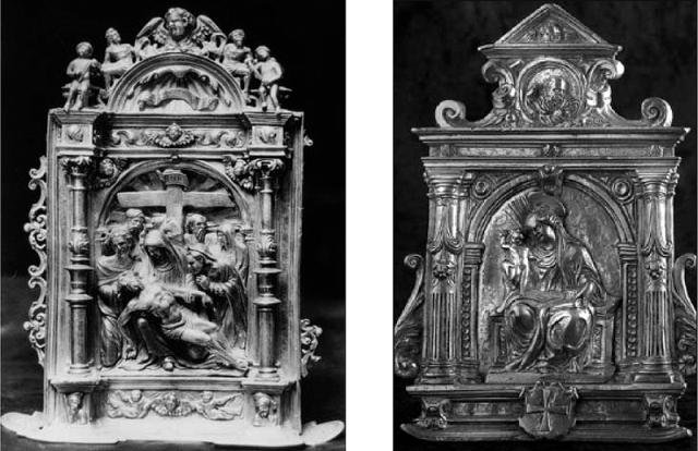 Fig. 09: Pax by Francisco Becerril, mid-16th century (El Escorial, Madrid, Spain) / Fig. 10: Pax by Hernando de Ballesteros el Mozo, ca. 1575 (Parish of Manzanilla in Huelva, Spain)