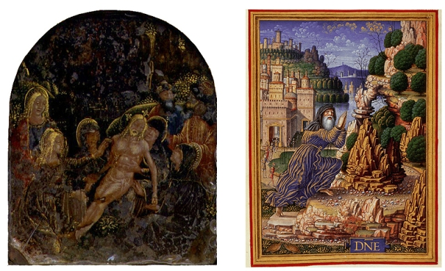 Fig. 02: Lamentation reverse gilt and painted rock crystal, ca. 1500-10 (Palazzo Madama) / Fig. 03: King David in Penitence by Giovanni Pietro di Birago from the Sforza Hours, ca. 1490 (British Library, Add. MS 34294 , fol.233.r)