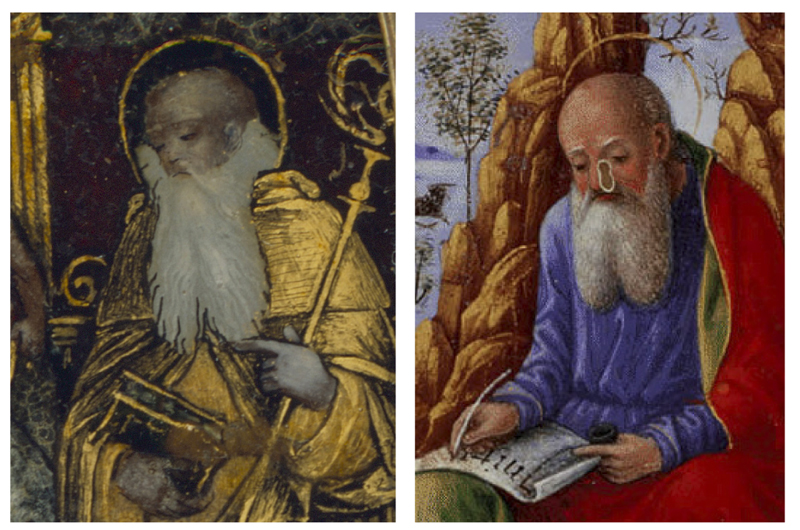 Fig. 05: Detail of the Sacred Conversation reverse gilt and painted rock crystal (LACMA; left); Detail of Sforza Hours opening sheet to the Gospel of John by Giovanni Pietro di Birago, ca. 1490 (British Library, right)