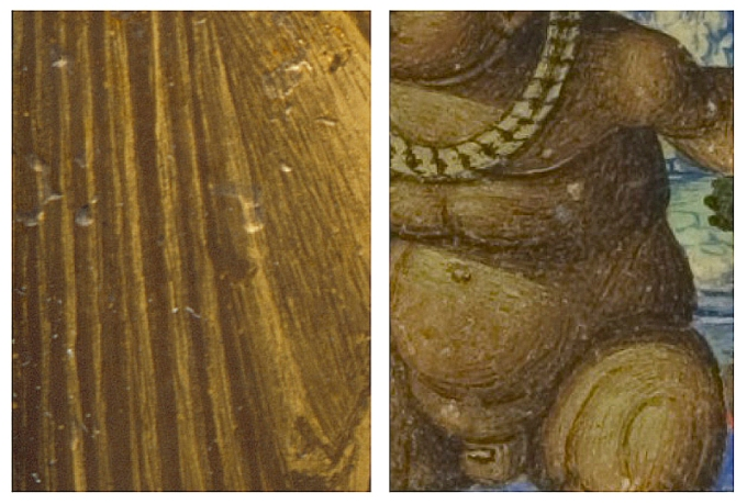 Fig. 06: Detail of the Sacred Conversation reverse gilt and painted rock crystal (LACMA; left); Detail of border by Giovanni Pietro di Birago from the frontispiece of Giovanni Simonetta's Sforziada, 1490 (Biblioteka Narodowa, Warsaw; Inc. F.1347, right)