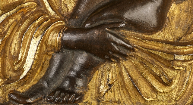 Fig. 07: Detail of the Virgin-Child applique on a later (1518) Florentine pax (Kollenburg Antiquairs)