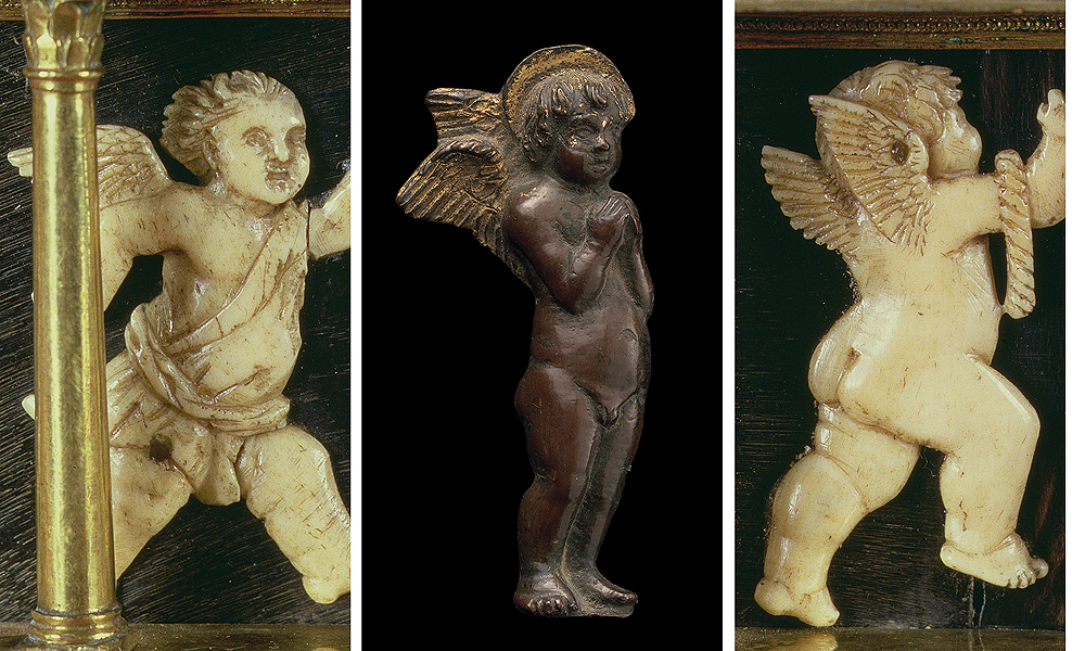 Fig. 21: Details (left, right) from the Reliquary of the Holy Girdle of the Virgin by Maso di Bartolomeo (Prato Cathedral); Angel applique (National Gallery of Art, Washington DC; Inv. 1957.14.393), here attributed to Maso di Bartolomeo and his workshop (center)