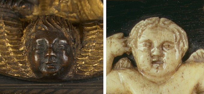 Fig. 22: Detail (left) of a winged-putto-head applique from a remarkable Florentine pax, here attributed to Maso di Bartolomeo and his workshop (Kollenburg Antiquairs; detail (right) from the Reliquary of the Holy Girdle of the Virgin by Maso di Bartolomeo (Prato Cathedral)