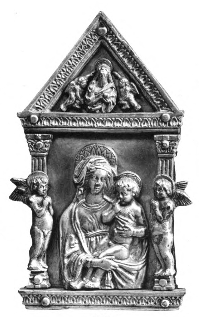 Fig. 24: Pax with the Madonna and Child, Two Adoring Angels, and God the Father Blessing, here attributed to the workshop of Maso di Bartolomeo and/or cast by a later foundry/follower (Staatliche Museen Berlin; destroyed/lost)