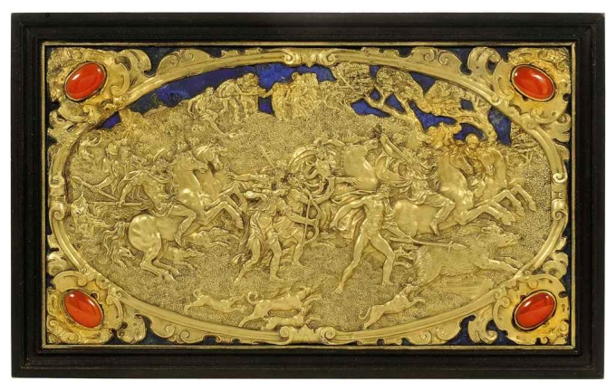 an_ajouree_gold_repousse_relief_of_the_calydonian_boar_hunt_after_gugl Christies Lot 285