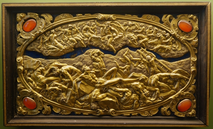 Six Mythological Scenes, 1 Fall of the Giants, Antonio Gentili, Rome, c. 1600 AD, modelled c. 1552 1555 AD, gold plate with precious stones   Bode Museum   DSC02534