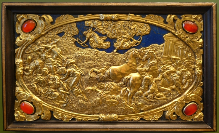 Six Mythological Scenes, 2 The Death of the Niobids, Antonio Gentili, Rome, c. 1600 AD, modelled c. 1552 1555 AD, gold plate with precious stones   Bode Museum   DSC02536