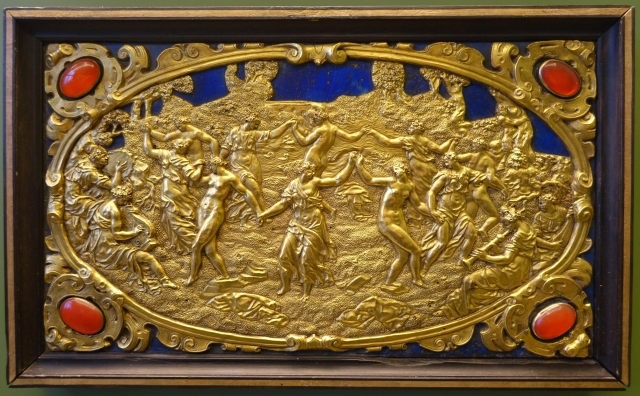 Six Mythological Scenes, 5 Dance of the Bacchants, Antonio Gentili, Rome, c. 1600 AD, modelled c. 1552 1555 AD, gold plate with precious stones   Bode Museum   DSC02537