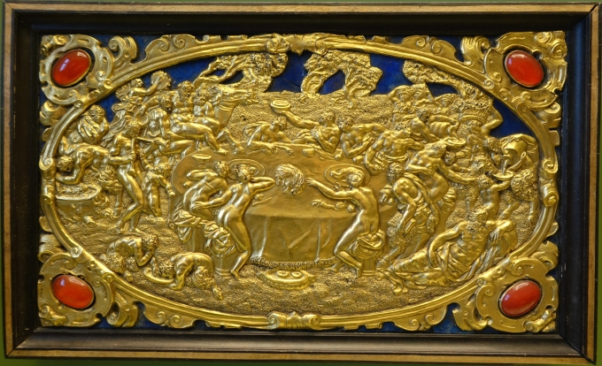 Six Mythological Scenes, 3 Bacchic Feast, Antonio Gentili, Rome, c. 1600 AD, modelled c. 1552 1555 AD, gold plate with precious stones   Bode Museum   DSC02539