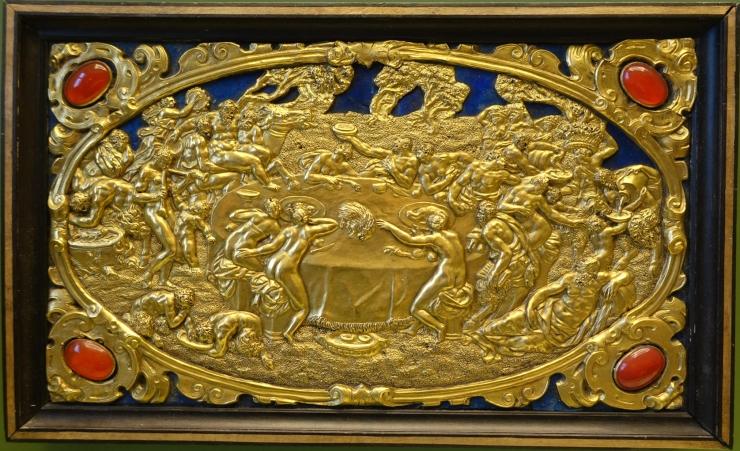 Six Mythological Scenes, 3 Bacchic Feast, Antonio Gentili, Rome, c. 1600 AD, modelled c. 1552 1555 AD, gold plate with precious stones   Bode Museum   DSC02539