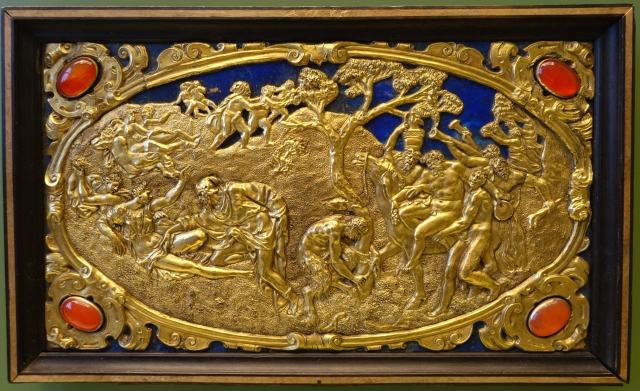 Six Mythological Scenes, 6 Scenes of Satyrs, Antonio Gentili, Rome, c. 1600 AD, modelled c. 1552 1555 AD, gold plate with precious stones   Bode Museum   DSC02540