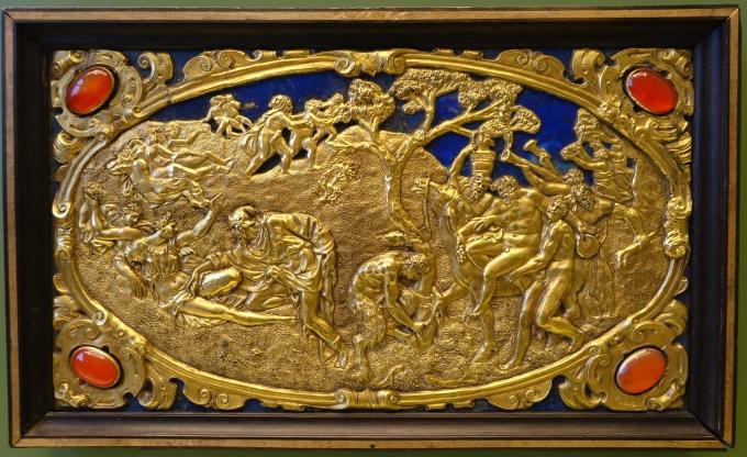 Six Mythological Scenes, 6 Scenes of Satyrs, Antonio Gentili, Rome, c. 1600 AD, modelled c. 1552 1555 AD, gold plate with precious stones   Bode Museum   DSC02540