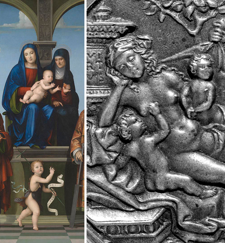 Francesco Francia _ ca 1511-17 _ The Virgin and Child with Saint Anne and Other Saints _ Plaquette Two Satyrs Nymph