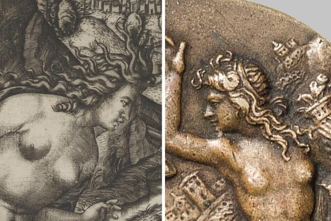 Marcaontonio Raimondi 1505 _ Thisbe _ plaquette of Abundance Satyr