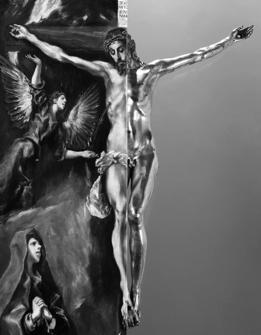 14 El Greco _ Crucifixion _ Prado Museum __ Circle of Sebastiano Torrigiani _ gilt crucifix comparison