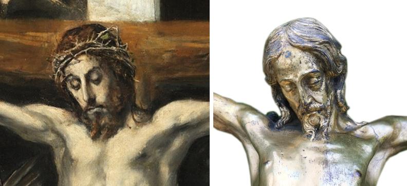 16 El Greco _ Crucifixion _ Prado Museum __ Circle of Sebastiano Torrigiani _ gilt crucifix