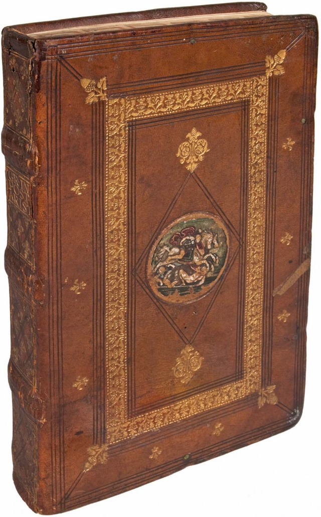 John Philoponus_6th-cent commentary on Aristotles Posterior Analytics_Venice 1504_binding Milan 1510-16_Grolier_Newberry Library Chicago