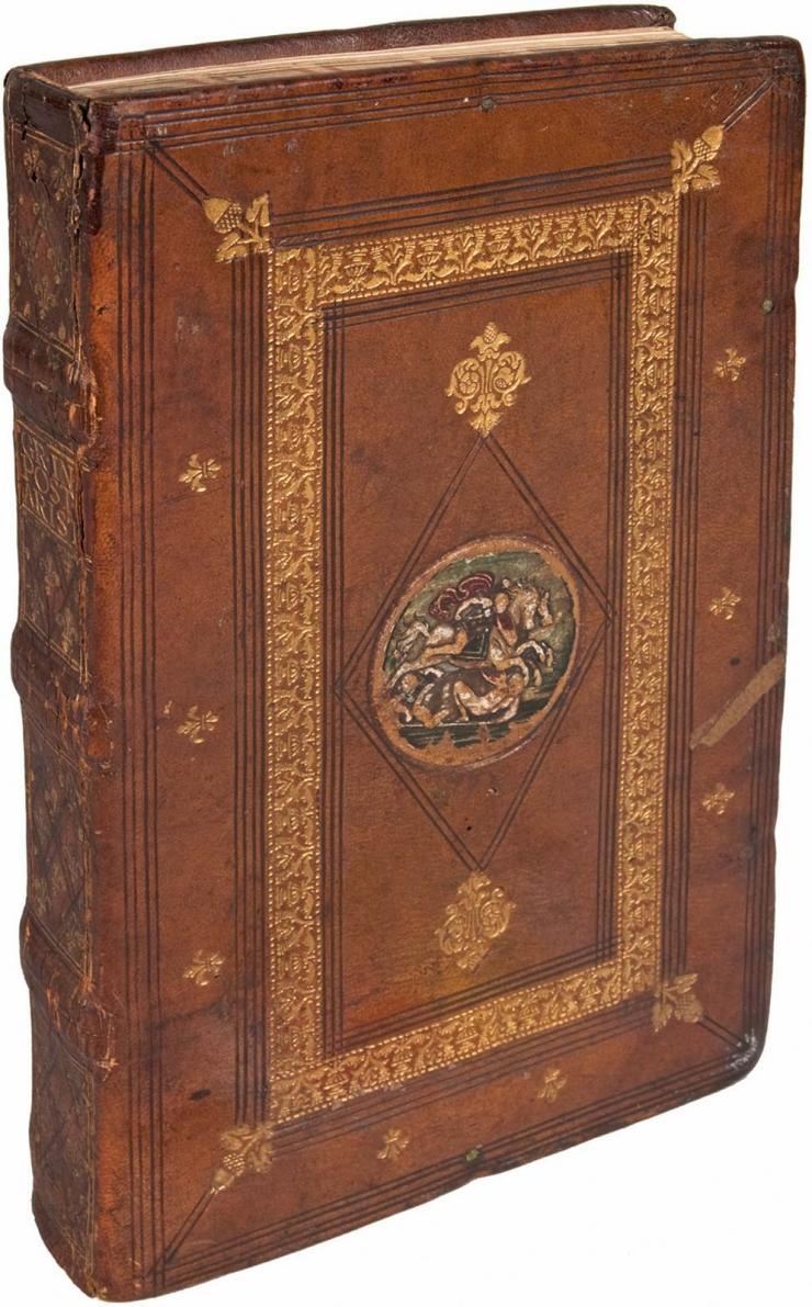John Philoponus_6th-cent commentary on Aristotles Posterior Analytics_Venice 1504_binding Milan 1510-16_Grolier_Newberry Library Chicago